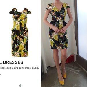 Nwot Topshop silk bird summer Floral wiggle dress